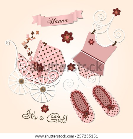 Scrapbook Baby shower invitation template vector illustration, happy birthday card for newborn baby girl with a pink vintage stroller, ribbons and scrap book elements - stock vector