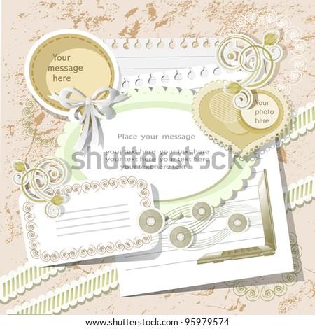 Scrapbook background in vintage stile - stock vector