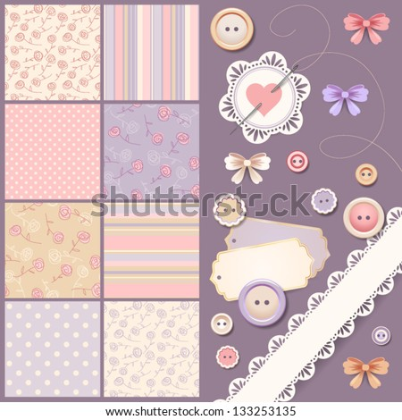 Scrapbook design elements - stock vector
