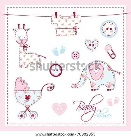 scrapbook design elements baby shower design elements Unique Baby shower drawings for baby shower invitation, card, scrapbook, album - stock vector