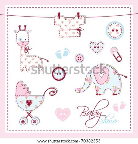 Scrapbook Design Elements Baby Shower Design Stock Vector Royalty