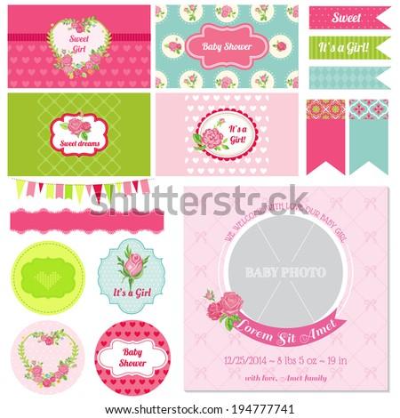 Scrapbook Design Elements - Baby Shower Flower Theme - in vector - stock vector