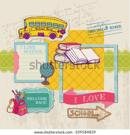 Scrapbook Design Elements - Back to School - for design and scrapbook in vector - stock vector