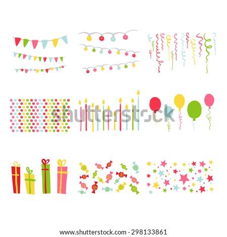 Scrapbook Design Elements Birthday Party Set in vector  - stock vector
