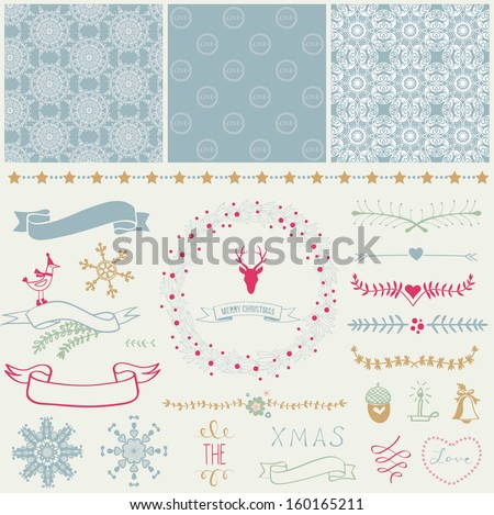 Scrapbook Design Elements: Christmas decorations, frames, ribbon, label, snowflakes, deer  and set of cute backgrounds. For design or scrap booking. - stock vector