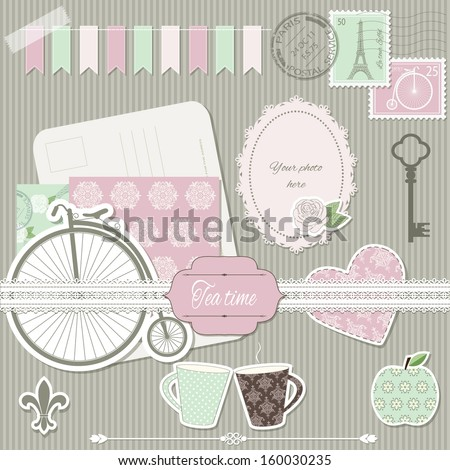 Scrapbook design elements collection - postcard, stamps, paper cut heart, rose, retro bike, cups, apple, key, photo frame, lace,  elegant pattern background. Easy to use.  - stock vector