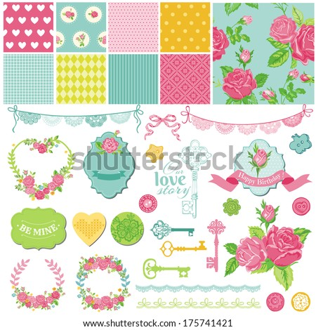 Scrapbook Design Elements - Floral Shabby Chic Theme - in vector - stock vector