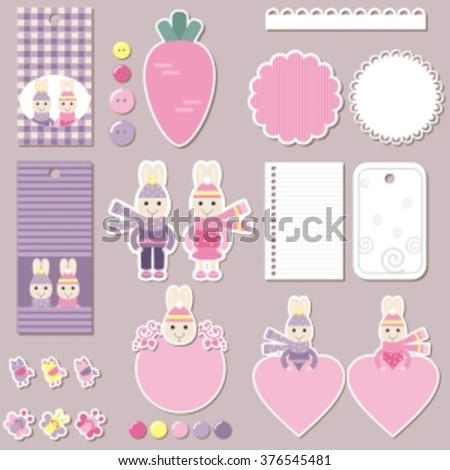 scrapbook design elements for kids: labels, buttons, tags, stickers