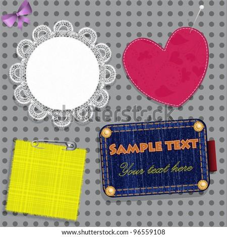 Scrapbook design elements from various tissues - stock vector