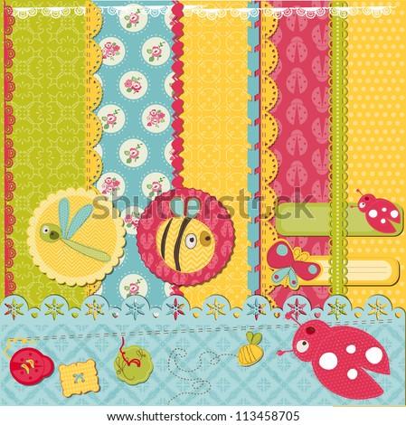 Scrapbook Design Elements -Funny Baby Bugs - in vector - stock vector