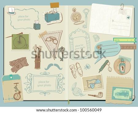 Scrapbook Design Elements - Gentlemen's Accessories doodle collection - hand drawn in vector - stock vector