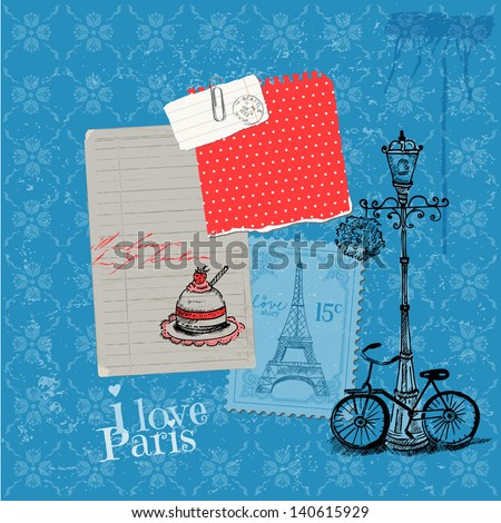 Scrapbook Design Elements - Paris Vintage Card with Stamps - in vector - stock vector