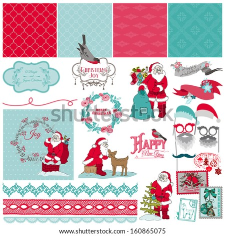 Scrapbook Design Elements - Santa Claus Christmas Set - in vector - stock vector