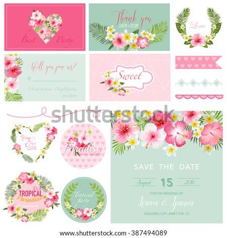 Scrapbook Design Elements - Tropical Flower Theme - in vector - stock vector