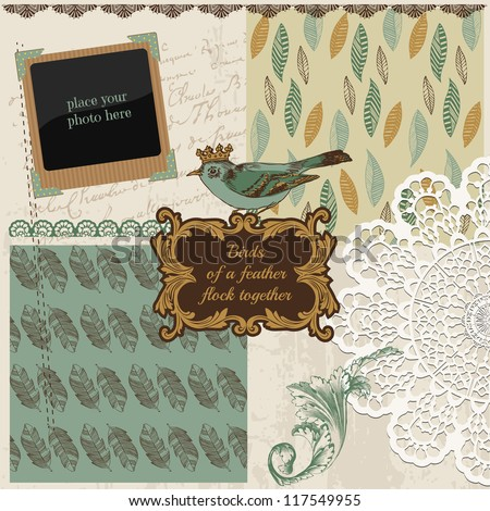 Scrapbook Design Elements - Vintage Bird Feathers - in vector - stock vector