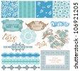 Scrapbook Design Elements - Vintage Blue Flowers - in vector - stock vector