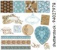 Scrapbook Design Elements - Vintage Flower Wallpapers and Vintage Elements in vector - stock vector