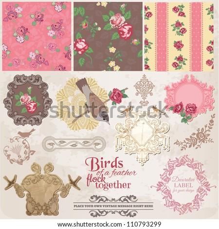 Scrapbook Design Elements - Vintage Flowers and Birds- in vector - stock vector