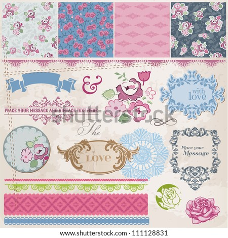Scrapbook Design Elements - Vintage Flowers and Frames- in vector - stock vector