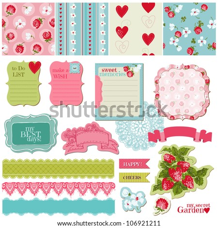 Scrapbook Design Elements - Vintage Flowers and Strawberry Set - in vector - stock vector