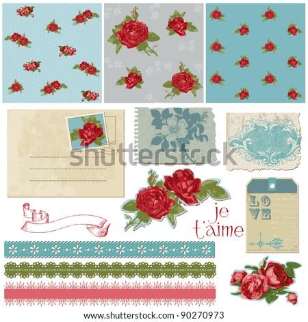 Scrapbook Design Elements - Vintage Flowers in vector - stock vector