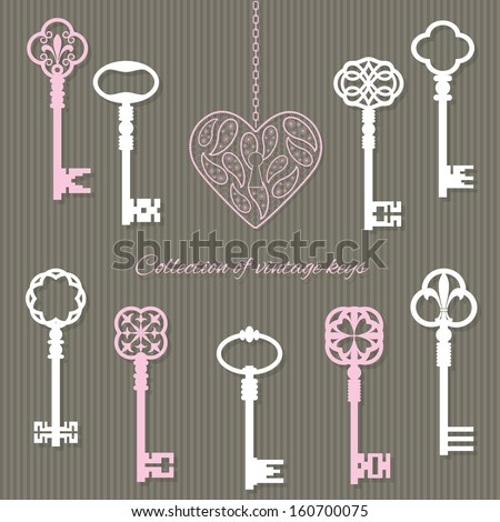 Scrapbook design elements - vintage keys and keyhole in the shape of lace heart. - stock vector