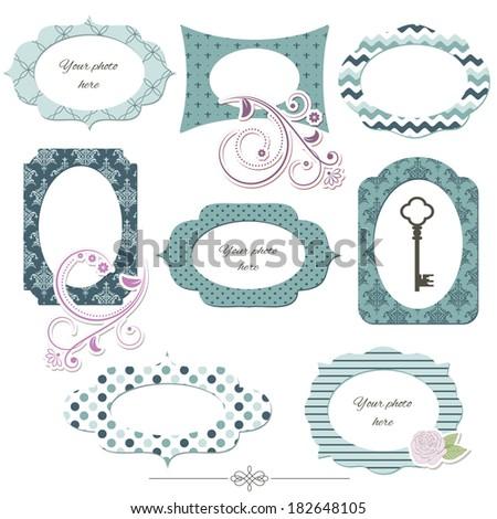 Scrapbook design elements. Vintage photo frames and floral decor. Editable. - stock vector