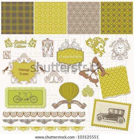 Scrapbook Design Elements - Vintage Time Set - in vector - stock vector