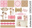 Scrapbook Design Elements - Vintage Wedding Set - for your design, invitation, congratulation - stock vector