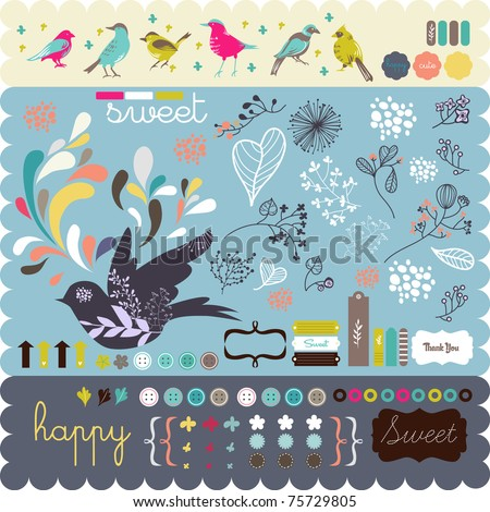 scrapbook elements all you need- fine quality - details and colorful - stock vector