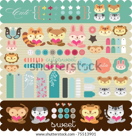 scrapbook elements for any use - stock vector