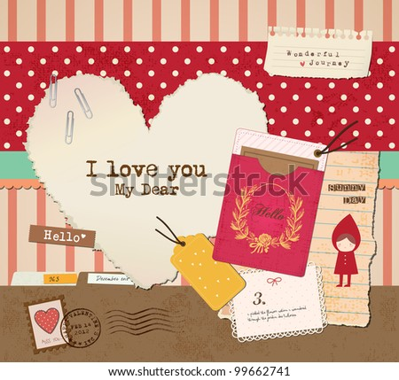 Scrapbook Elements for Valentine's Day Design. - stock vector