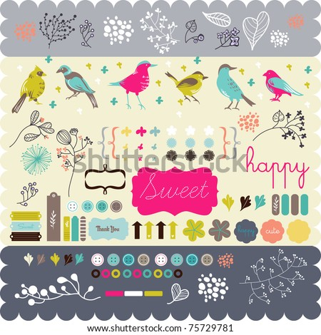 scrapbook elements that you need- fine quality - details and colorful - stock vector
