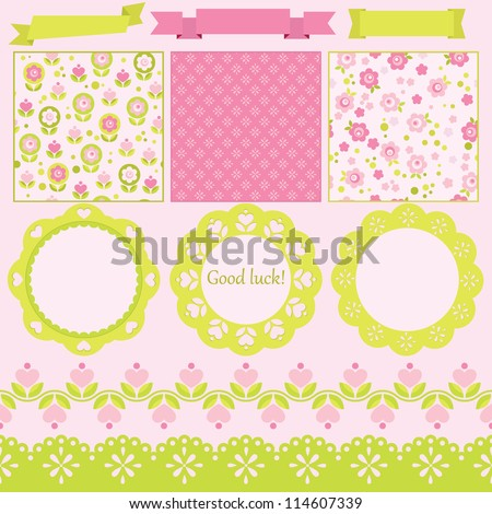 Scrapbook elements. Vector illustration. Cute seamless patterns included. - stock vector