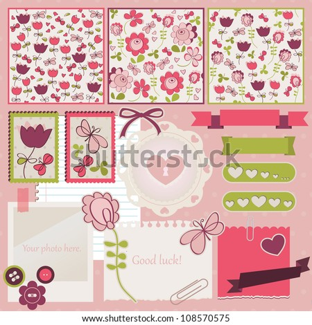 Scrapbook elements. Vector illustration. Tree cute seamless patterns included. - stock vector