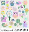 Scrapbook nature and animal set. Seamless vector background - stock vector