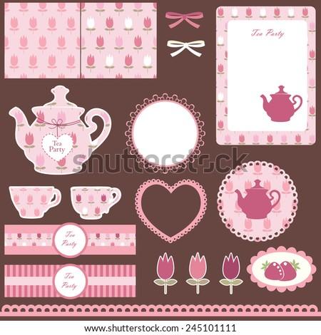 Scrapbook set for tea party - stock vector