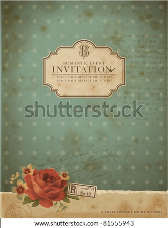 scrapbook-style retro background or greeting card with stained paper, label and flowers - stock vector