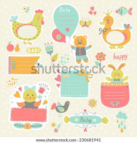 Scrapbook template. Sticker label. Set of cute frames and kids icon. Graphic elements for invitation cards, party invitation, holiday gifts, birthday cards. Set of animals illustrations - stock vector