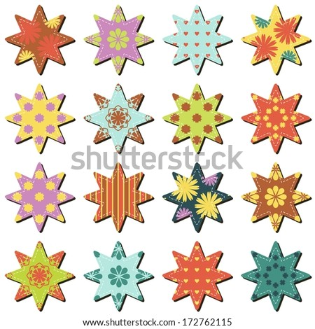 scrapbook textile stars on white background
