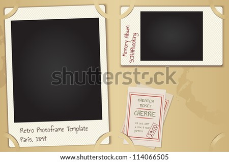 Scrapbooking page set - vector retro paper photo frames with background, theater tickets and coffee spots - stock vector