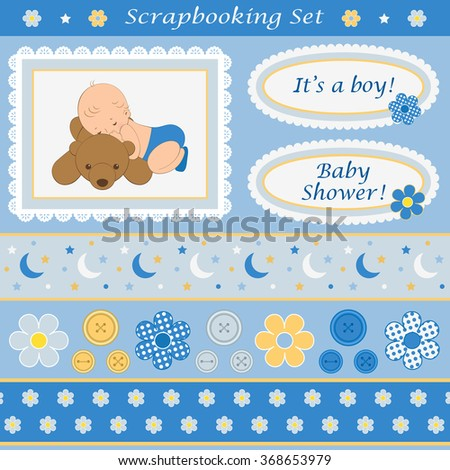 Scrapbooking set for baby boy. Design elements for your layouts or scrapbooking projects. Vector illustration. - stock vector