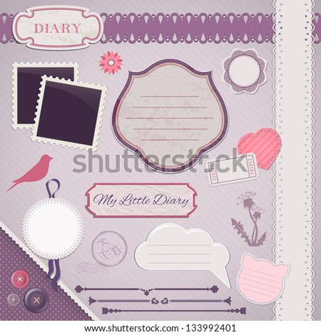 Scrapbooking Set: My Little Diary - frames, ribbons, dividers, notes and decorations - stock vector