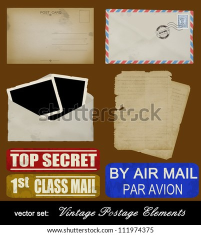 Scrapbooking set of old postage design elements - postcard, photos, stamp, envelope and papers, vector illustration - stock vector