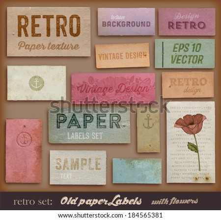 Scrapbooking set. Old paper textures, Different Aged Paper Elements Collection for Your Layouts. Engraving Flower and Floral Ornament. - stock vector