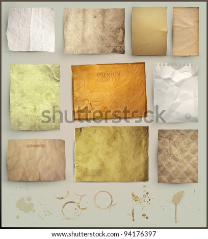 Scrapbooking set. old paper textures: different aged paper elements for your layouts - stock vector