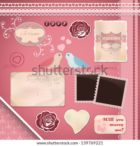 Scrapbooking Set: Wedding - invitation, birds, frames, ribbons and decorations, seamless pattern.