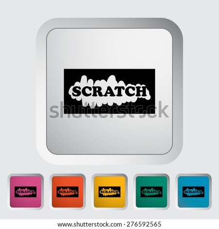 Scratch card. Single flat icon on the button. Vector illustration. - stock vector
