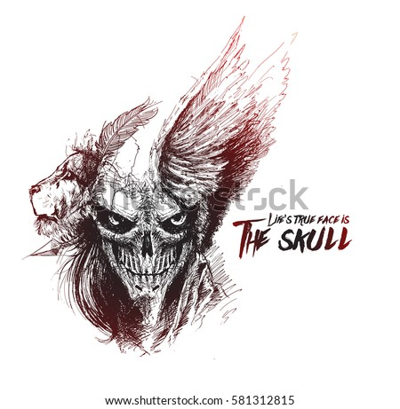 Scratch Devil Skull with lion face - Vampire, Hand Drawn Sketch Vector illustration.
