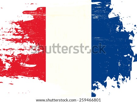 Scratched french Flag. A french flag with a grunge texture - stock vector